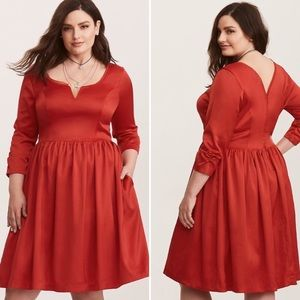 Torrid Outlander Claire Red Satin Swing Dress 22